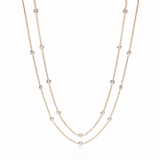 "38"" Yellow Gold plated Sterling silver Cubic Zirconia J-Jaz Necklace"